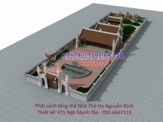 Mẫu thiết kế thi công Nhà thờ họ Nguyễn Đình - Hà Tĩnh