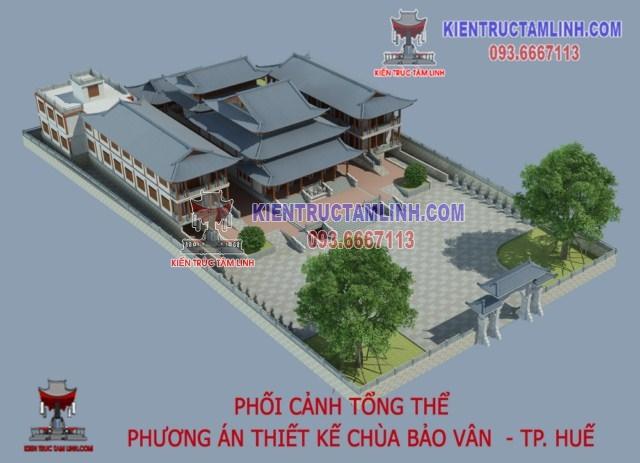 Mẫu Thiết kế Chùa Bảo Vân – Thành phố Huế