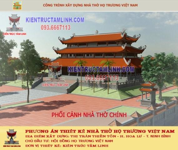 Phương án thiết kế Nhà thờ họ Trương Việt Nam - Ninh Bình