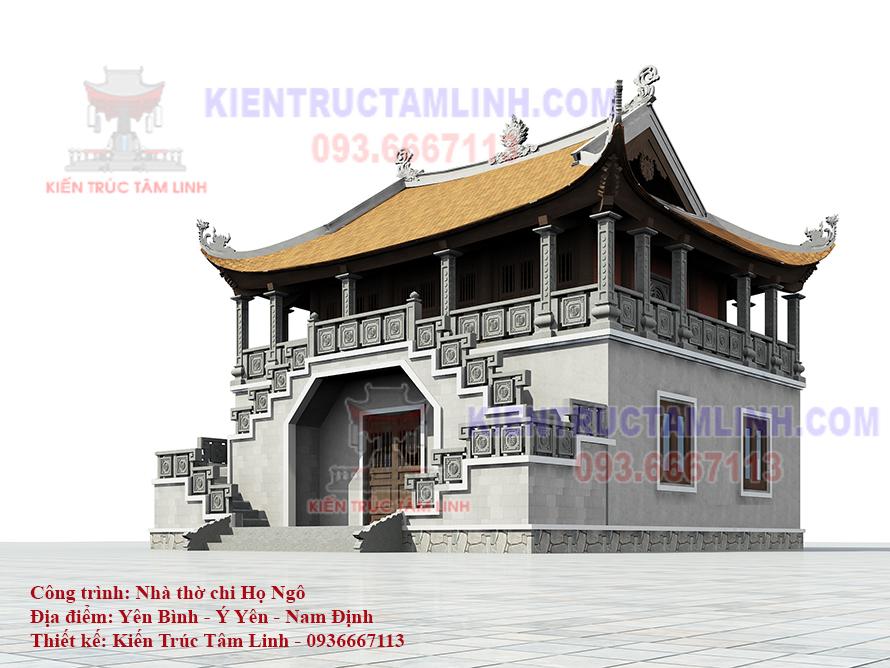 Thiết kế Nhà thờ họ 2 tầng 3 gian mái đao bê tông cốt thép giả gỗ