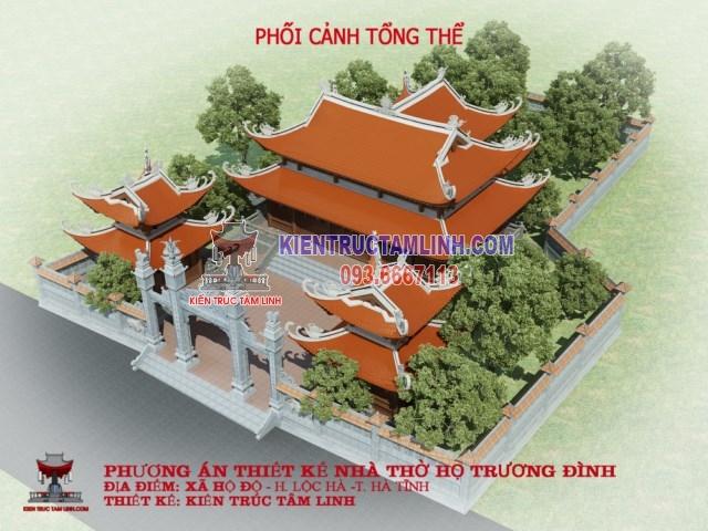 Thiết kế nhà thờ họ 8 mái tại Hà Tĩnh