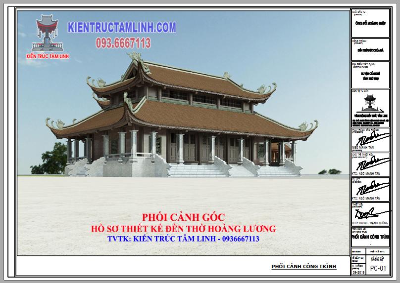 Thiết kế Đền thờ Hoàng Lương - Cẩm Khê - Phú Thọ